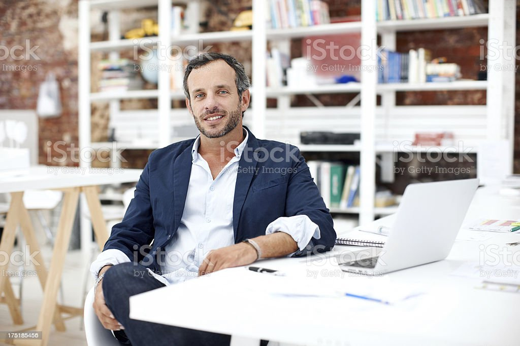 You can trust him with your design needs royalty-free stock photo