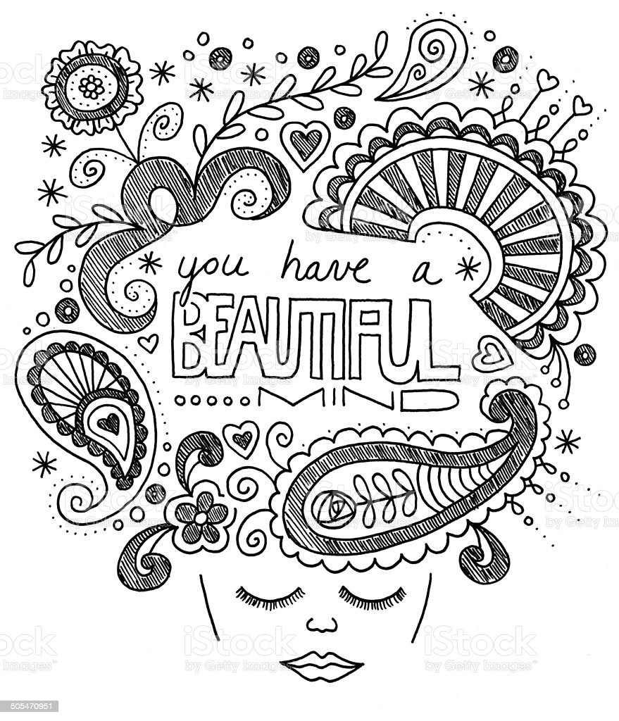You Have a Beautiful Mind - Original Art, Ink Doodles stock photo