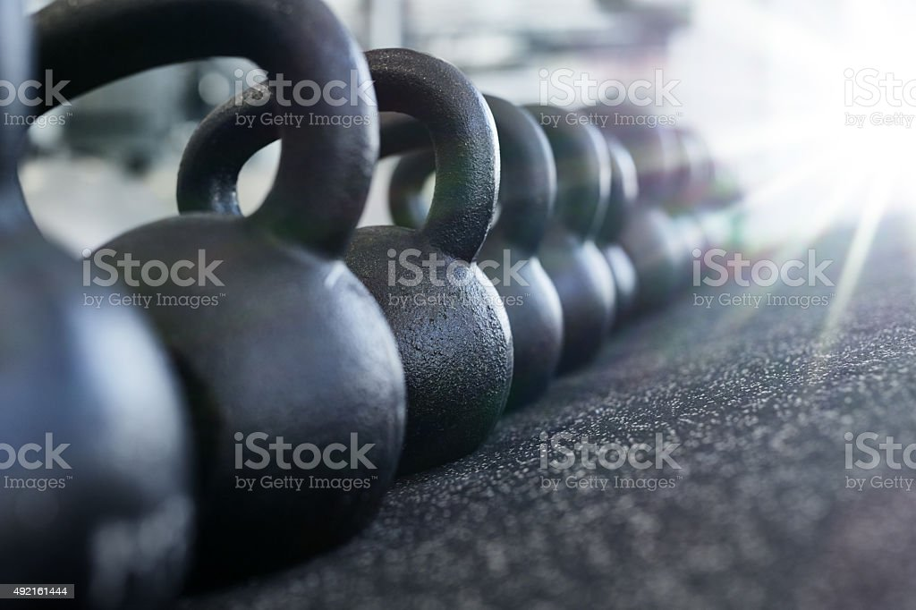 You haven't lifted until you've lifted a kettle bell stock photo