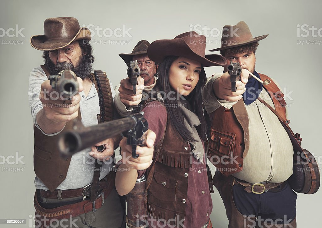 You heard us..put em' up! stock photo