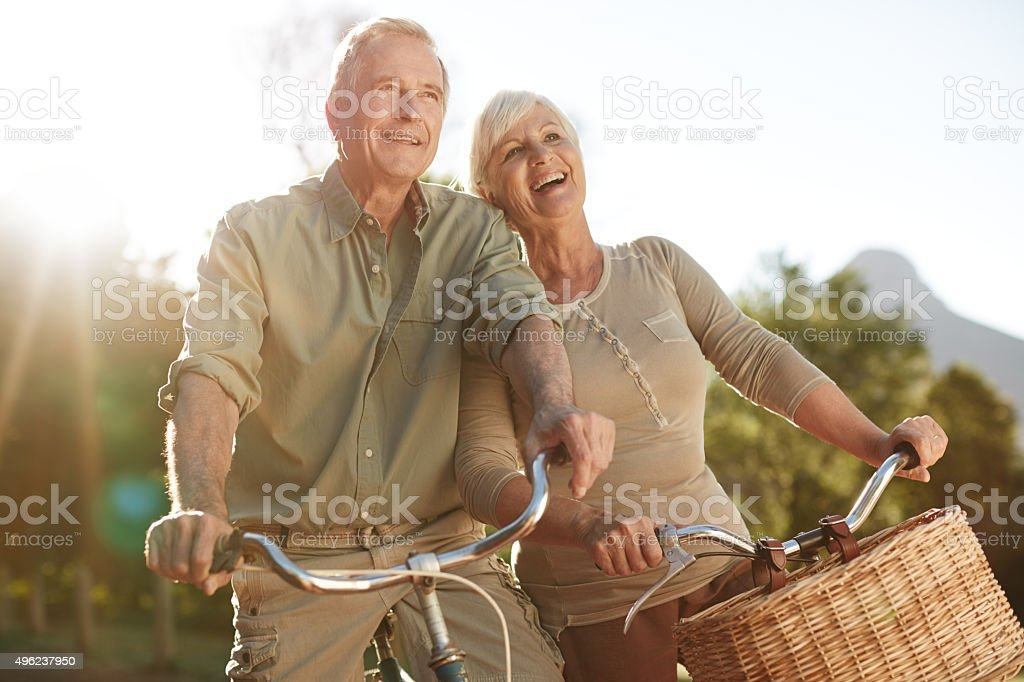 You just can't be sad while riding a bicycle stock photo