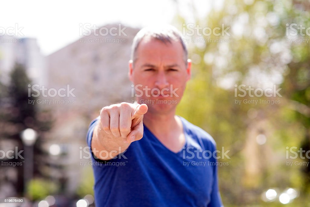 You!!! Man pointing his finger stock photo