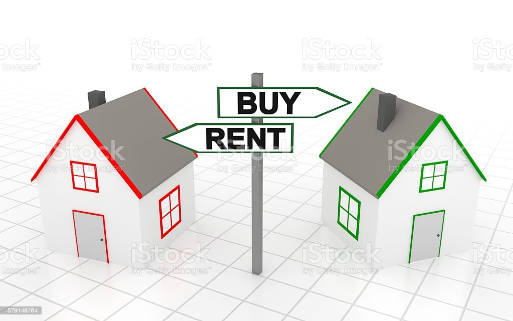 You must choose: buy or rent stock photo