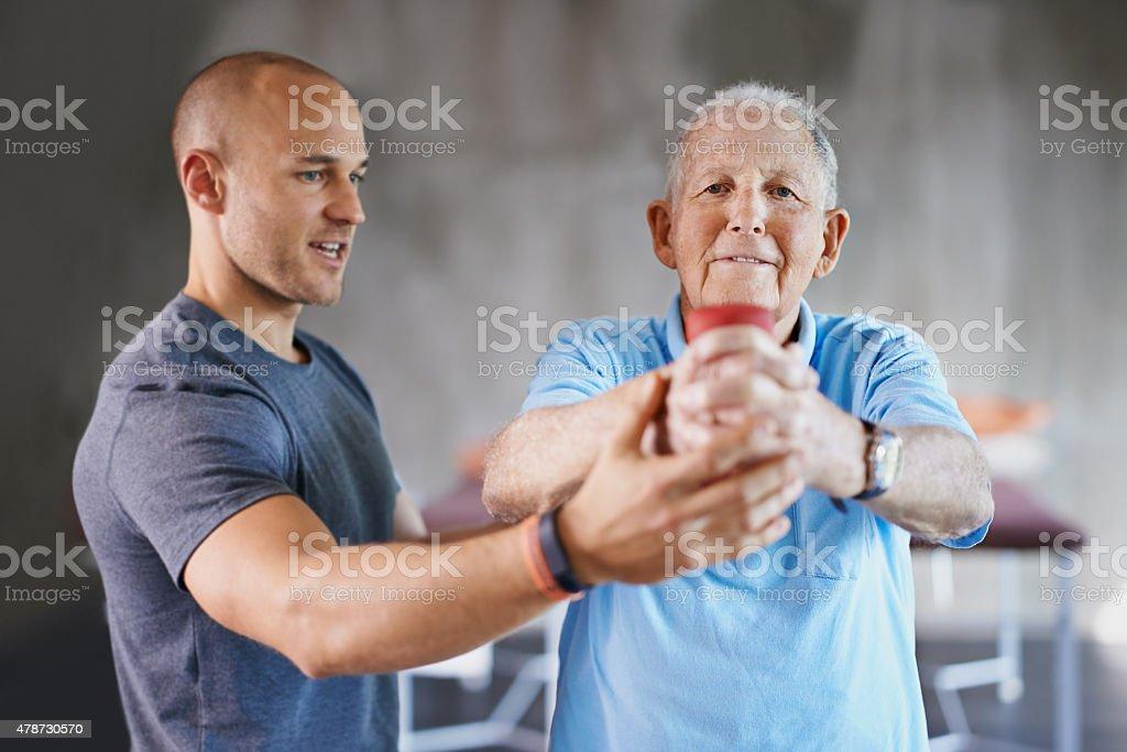You say senior, I say strong stock photo