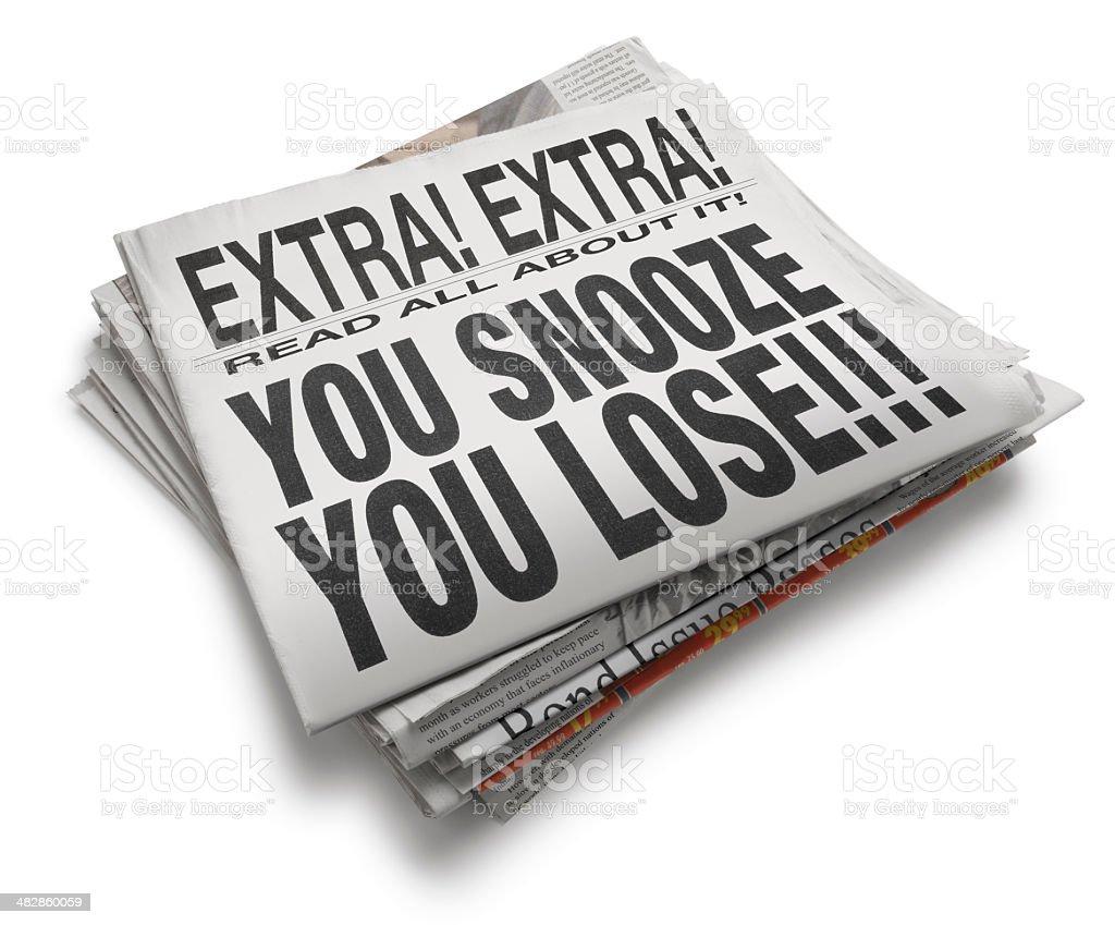 You Snooze U Lose stock photo