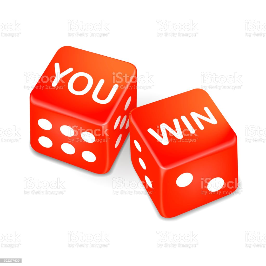 you win words on two red dice stock photo