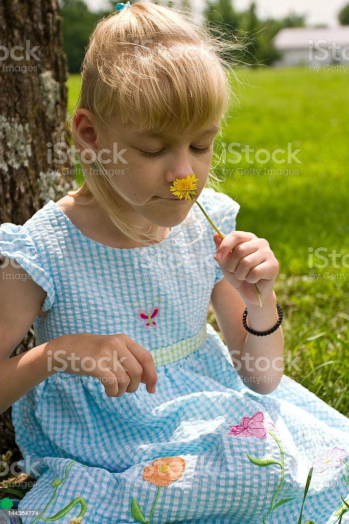Youg girl smelling a flower stock photo
