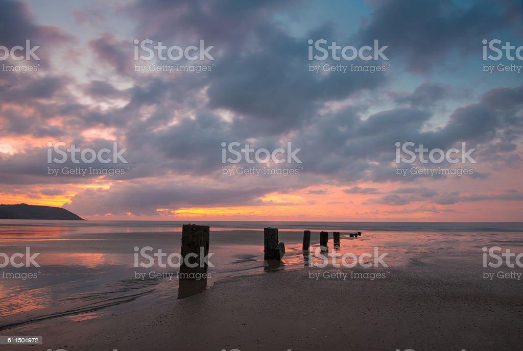 Youghal Strand Sunrise 10-10-2016 stock photo