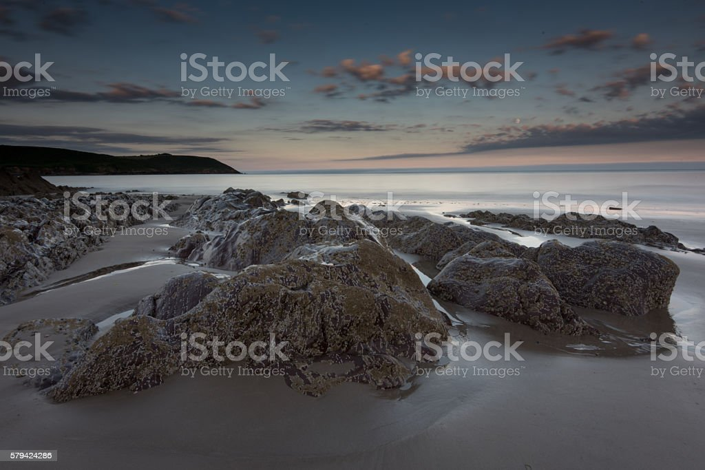Youghal strand sunset stock photo