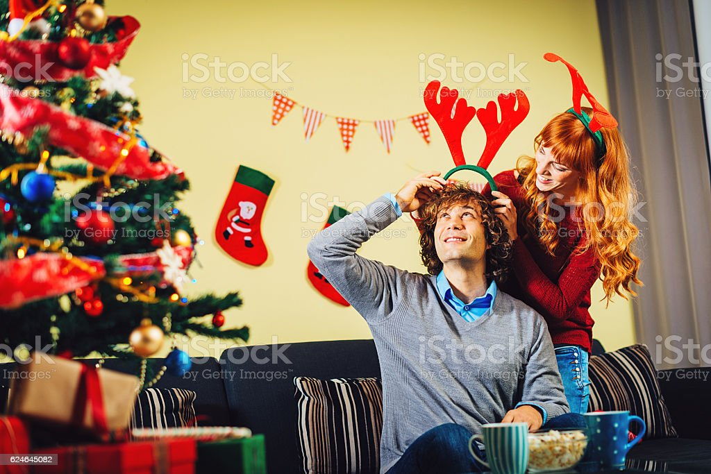You'll look nicer with Santa's hat tonight stock photo