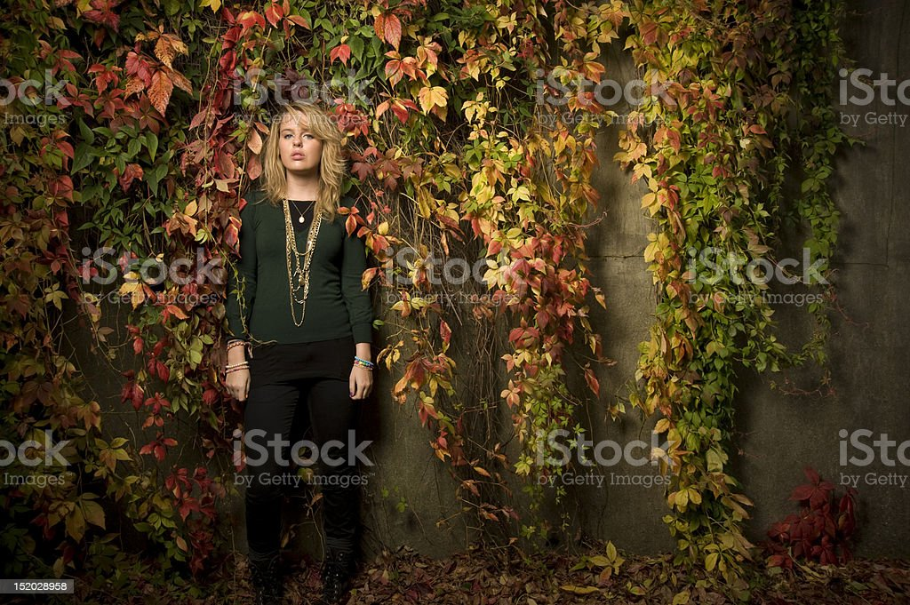Youn model standing in front of autumn leafs royalty-free stock photo