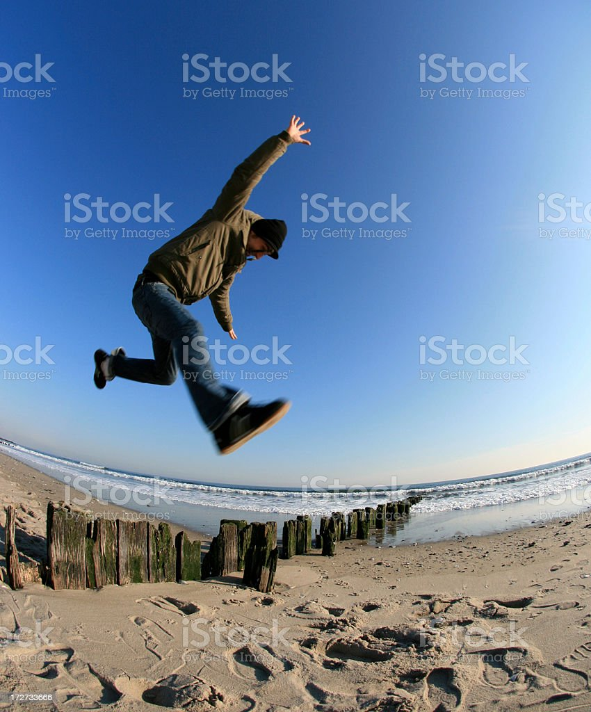 yound man jumping royalty-free stock photo