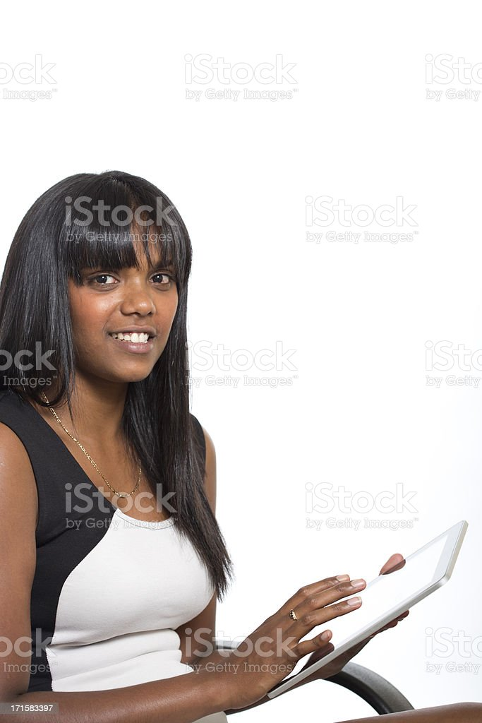 Young Aboriginal Woman Using a Computer royalty-free stock photo