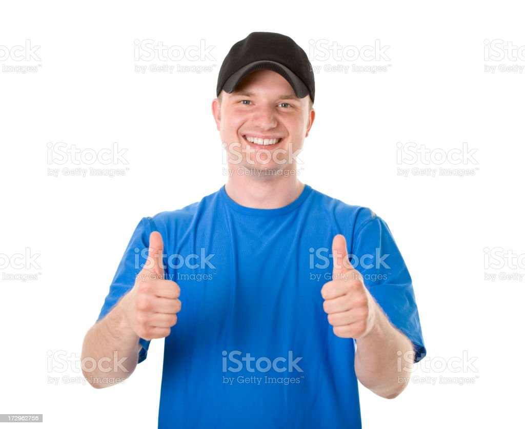 young active man showing ok stock photo