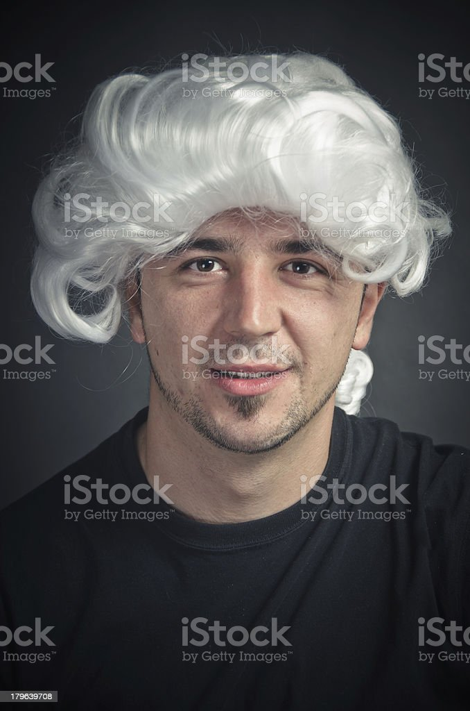 Young Actor in White Wig Smiling royalty-free stock photo