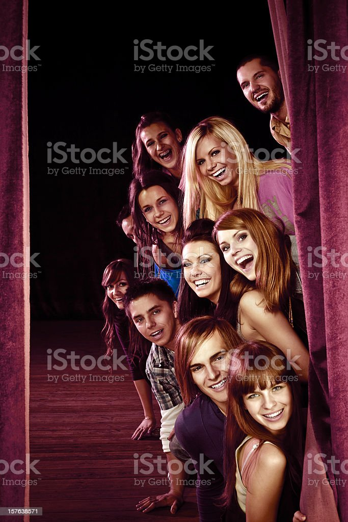 Young actors on stage stock photo