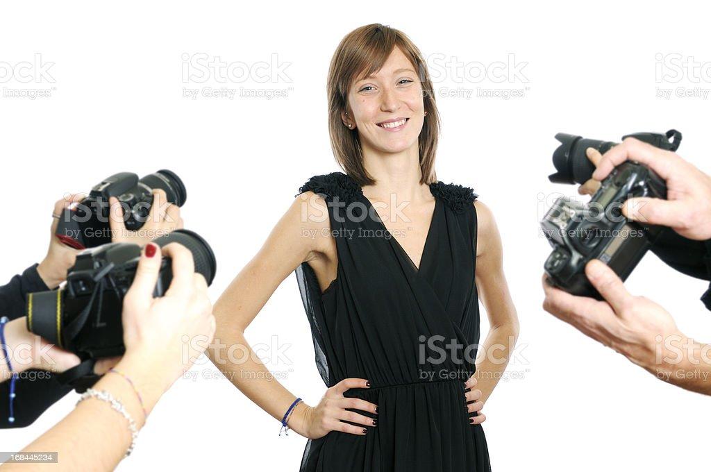 Young Actress and Paparazzi Photographer stock photo