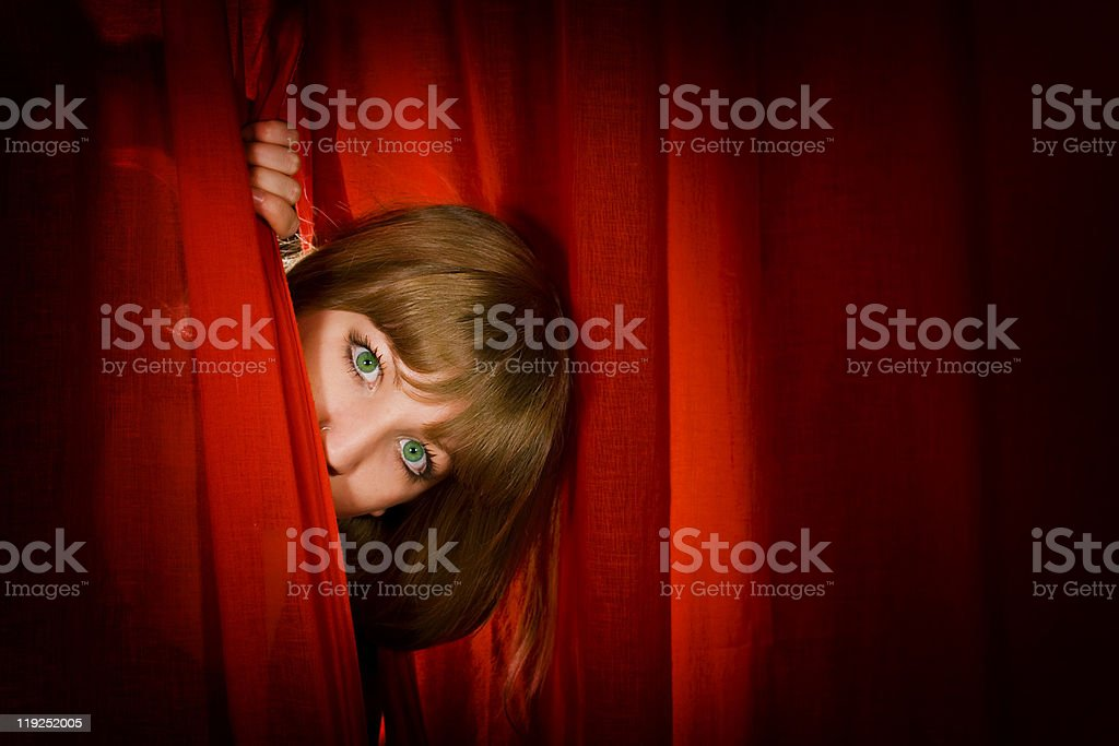 Young actress in theatre stock photo