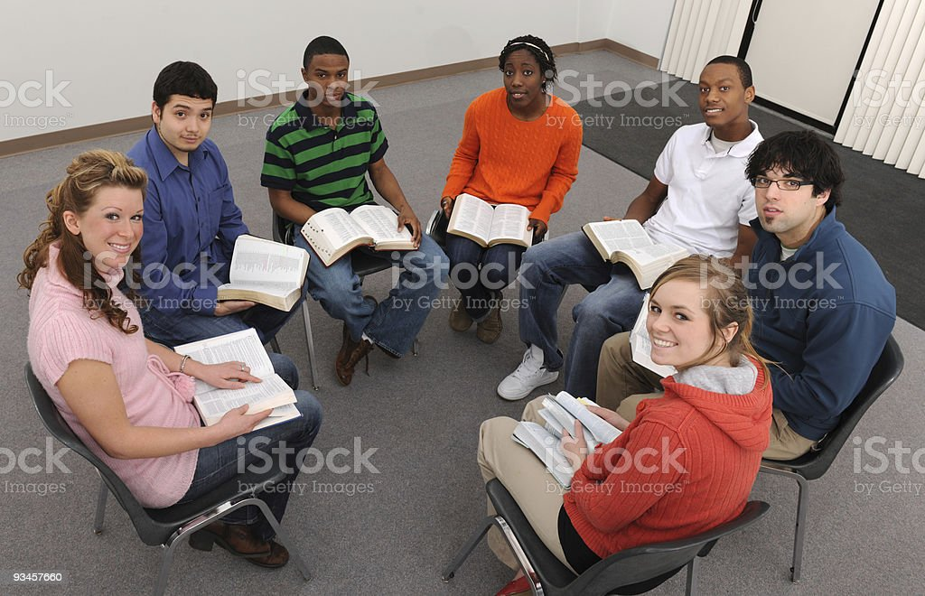 Young adult Bible study stock photo