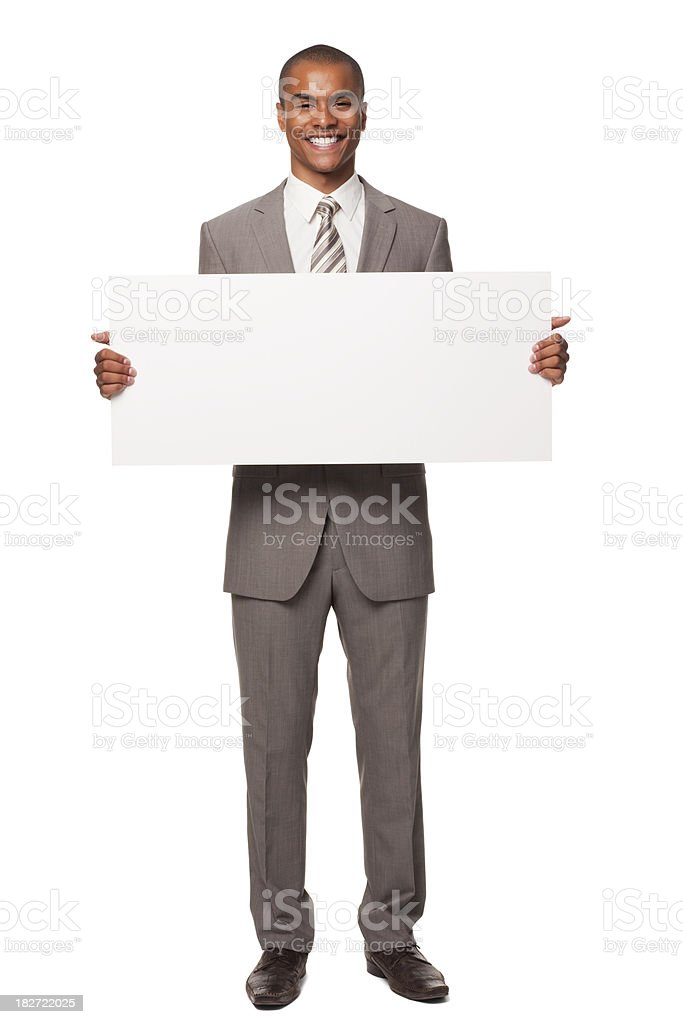 Young Adult Businessman With Blank Sign. Isolated. stock photo
