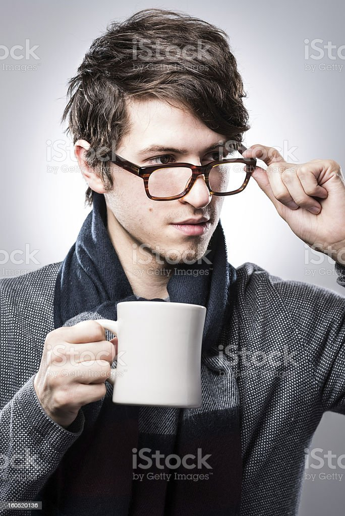 Young Adult Drinking Coffee royalty-free stock photo