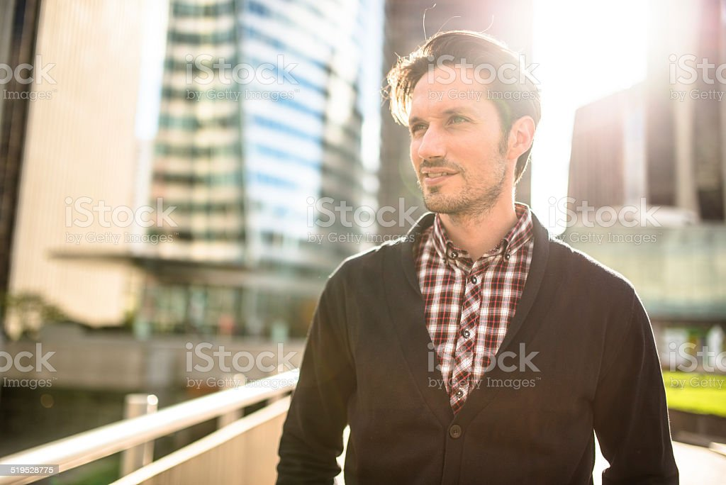 young adult entrepreneur smilin gon the city stock photo