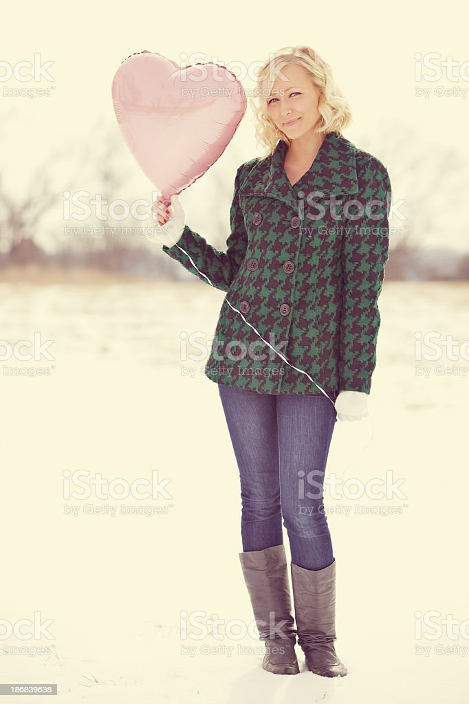 young adult female valentines outdoors royalty-free stock photo
