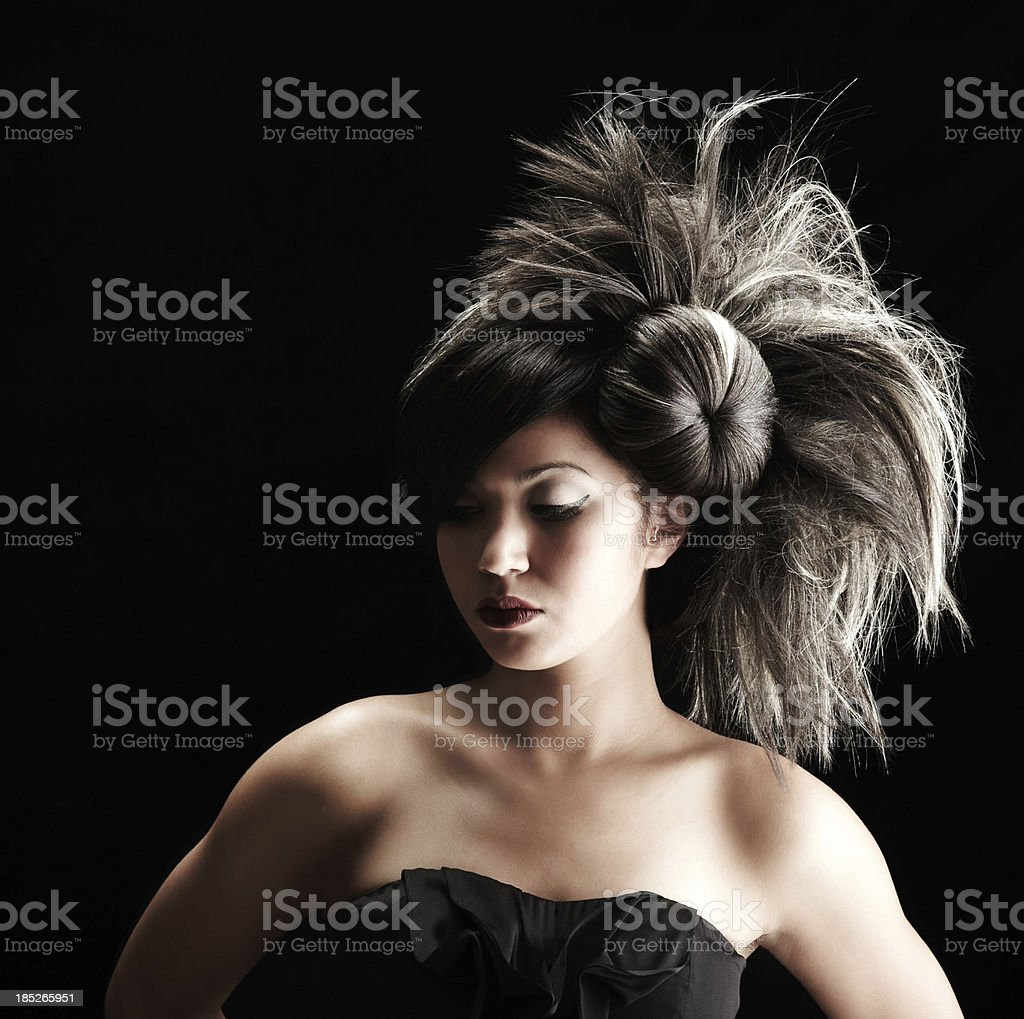 Young Adult Female with eyes closed and looking down royalty-free stock photo