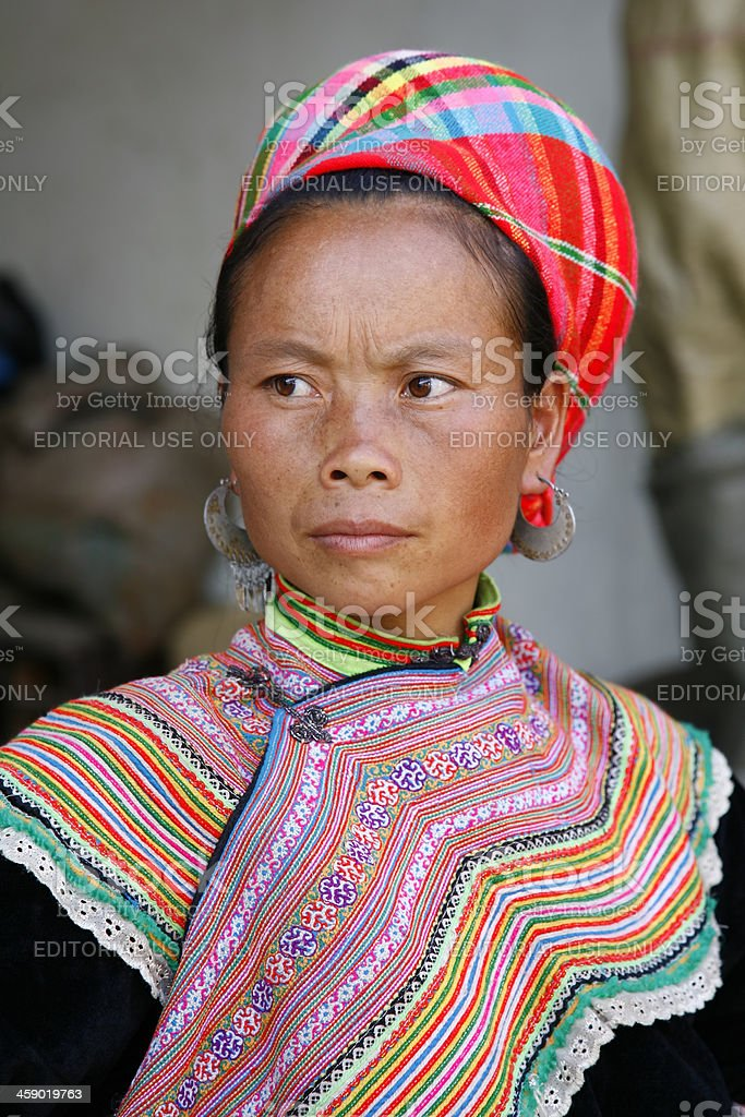 Young adult Flower Hmong woman in traditional dress royalty-free stock photo