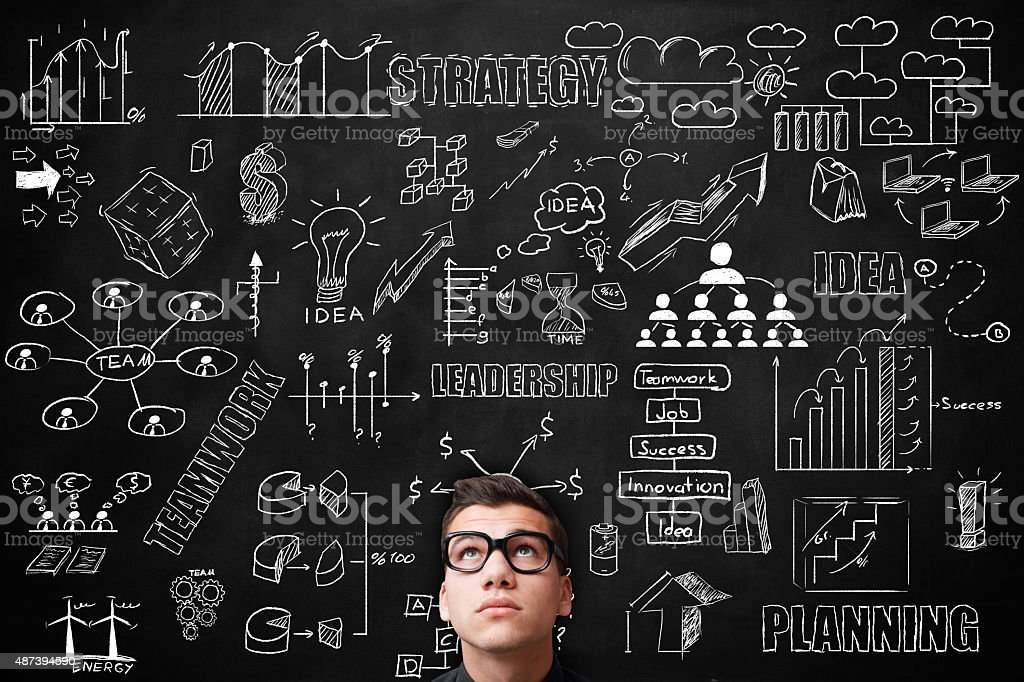 Young adult Idea concept on blackboard stock photo
