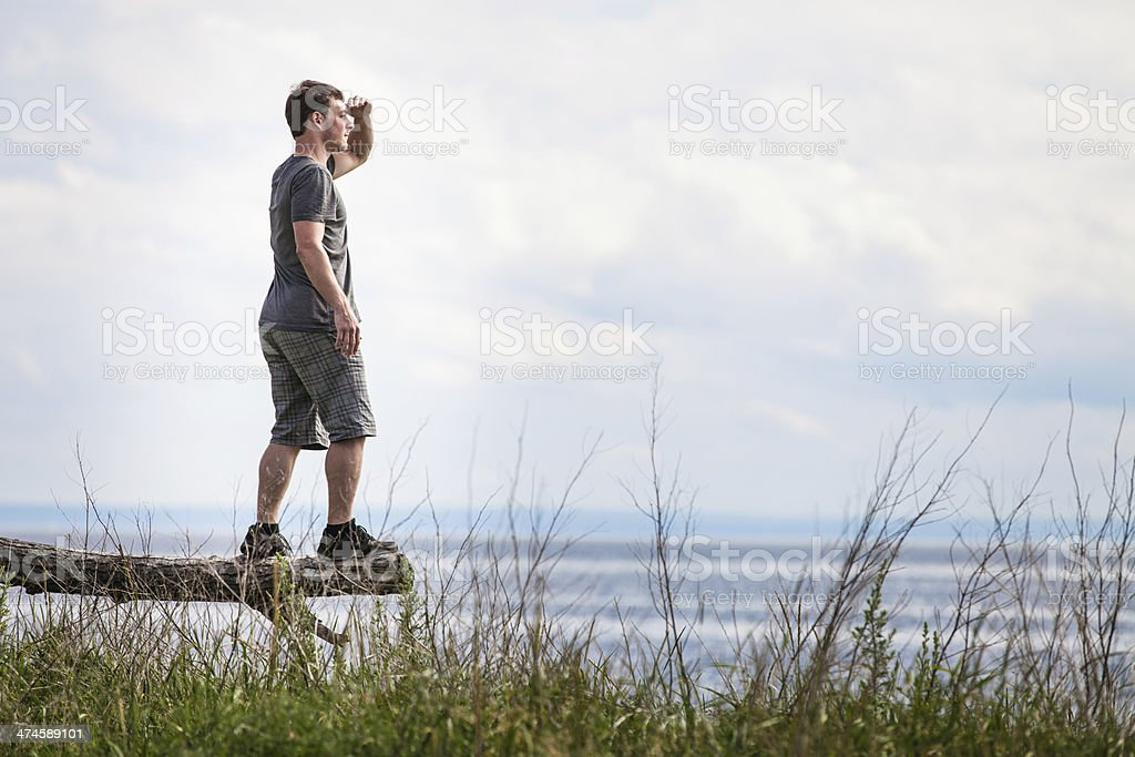 Young Adult in Nature Looking at The View stock photo