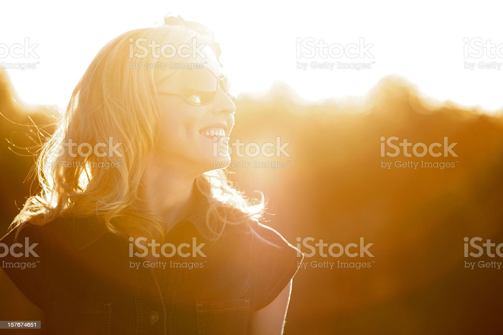 Young adult joyful female outdoors royalty-free stock photo