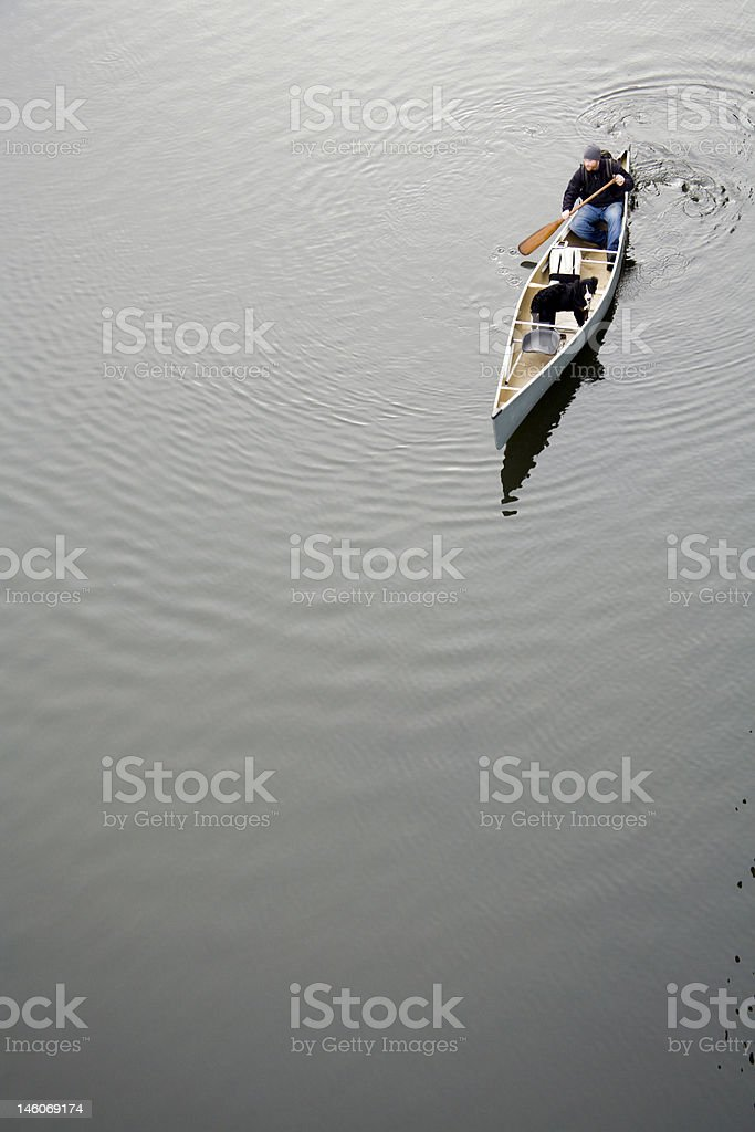 Young Adult  Male Canoeing With His Dog royalty-free stock photo