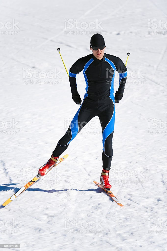 Young adult man at cross country skiing royalty-free stock photo