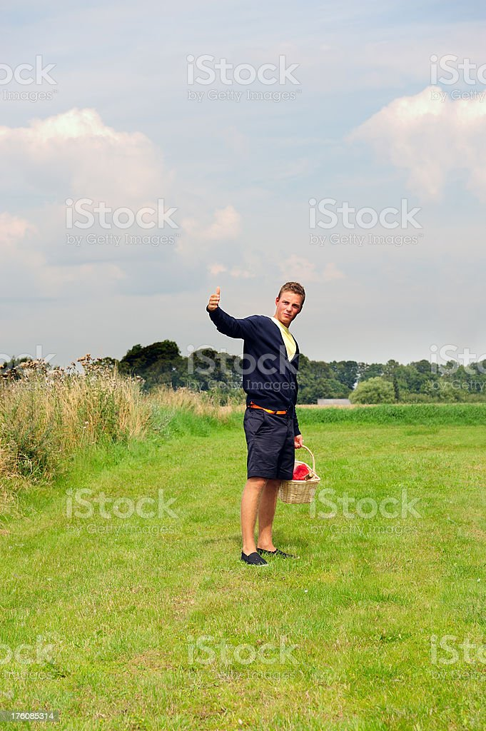 Young adult on picnic calling girl royalty-free stock photo