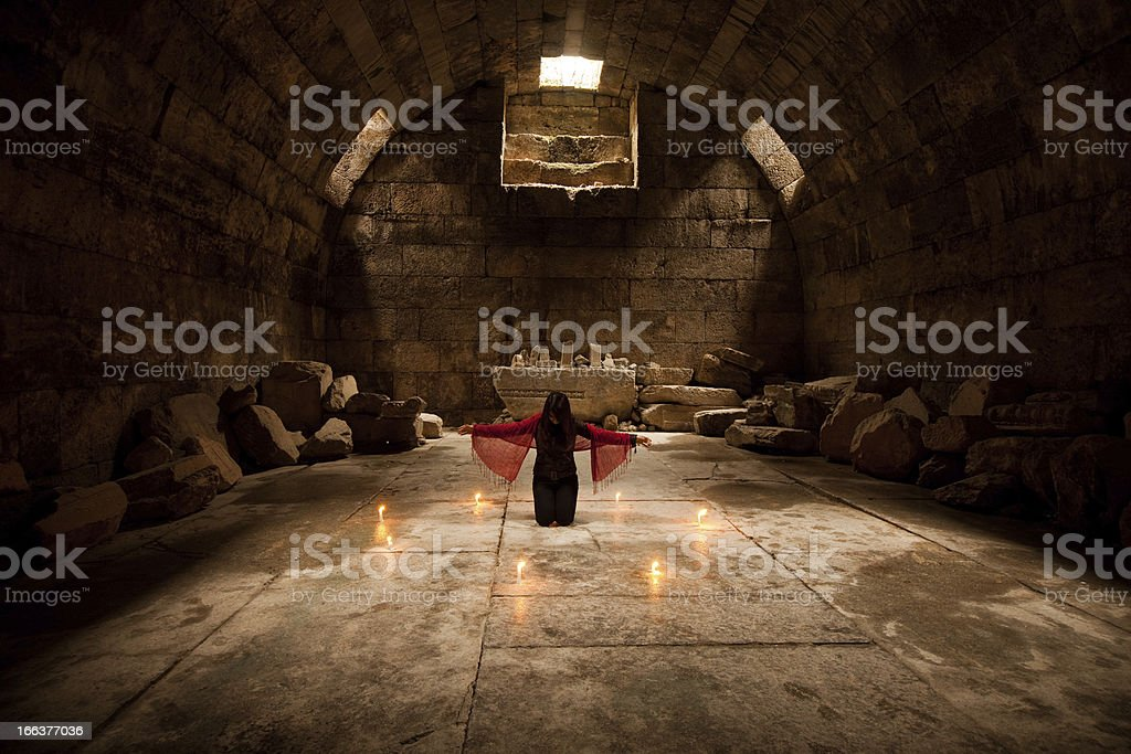 Young adult pray to god stock photo