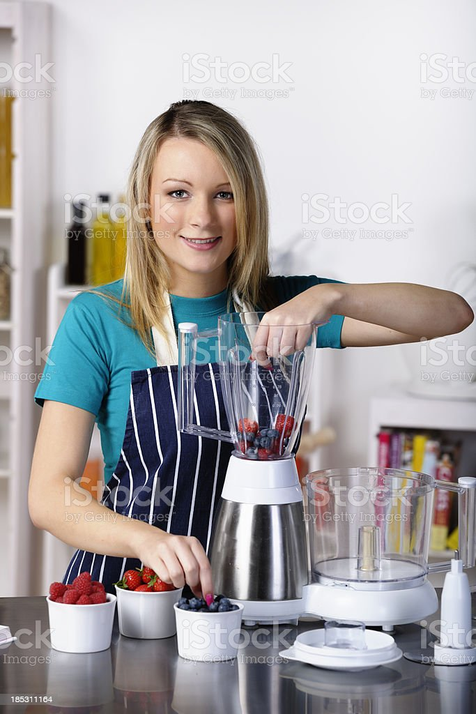 Young Adult Ready To Make Dessert/ Healthy Drink royalty-free stock photo