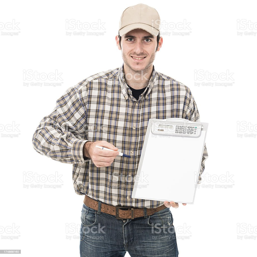 young adult serviceman with clipboard ready for sign royalty-free stock photo