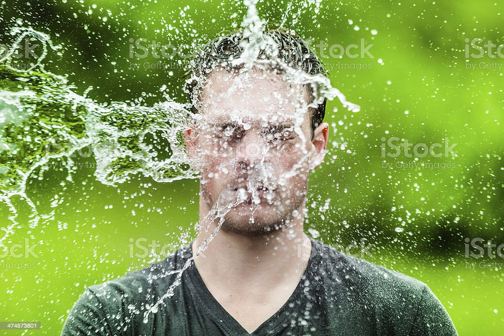 Young Adult That Got Completely Drenched stock photo