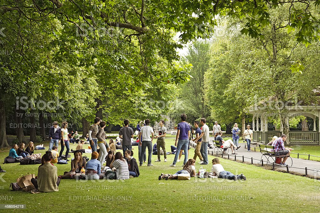 Young adult tourists in St Stephen's Green, Dublin stock photo