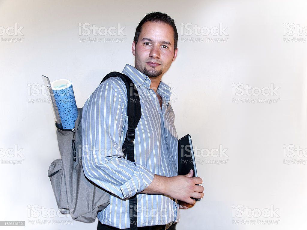 Young adult with backpack. royalty-free stock photo