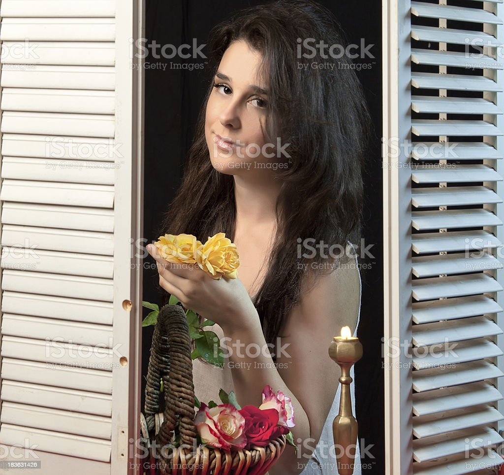 Young Adult With Yellow Roses royalty-free stock photo