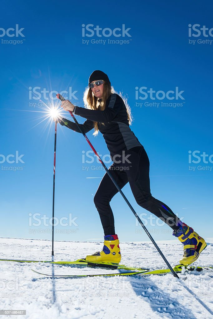Young adult Women Cross Country Skiing stock photo