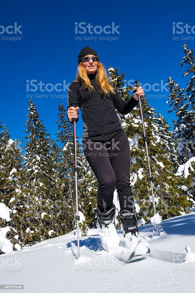 Young adult Women Ski Touring stock photo