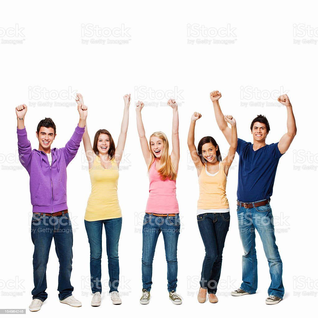 Young Adults Cheering - Isolated royalty-free stock photo