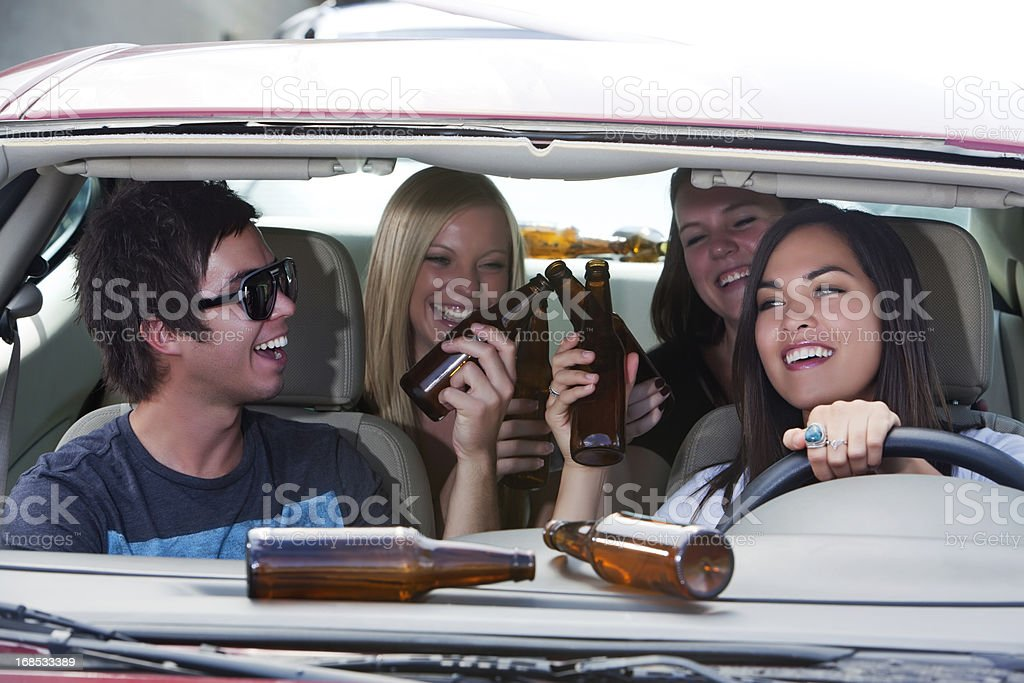 young adults drinking and driving- Short future royalty-free stock photo