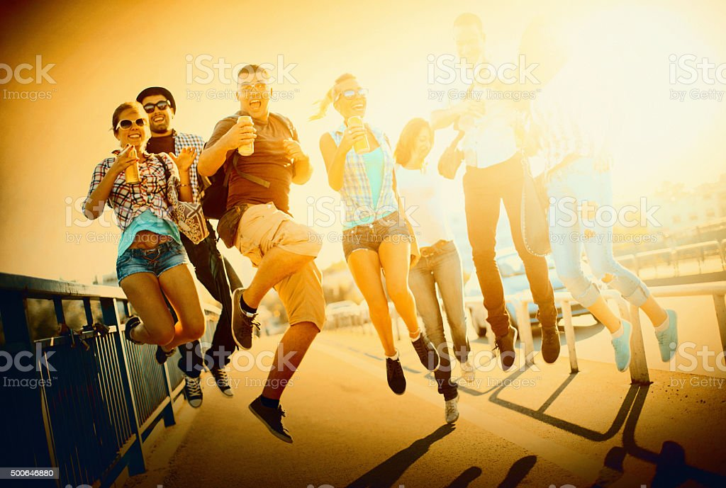 Young adults having fun. stock photo