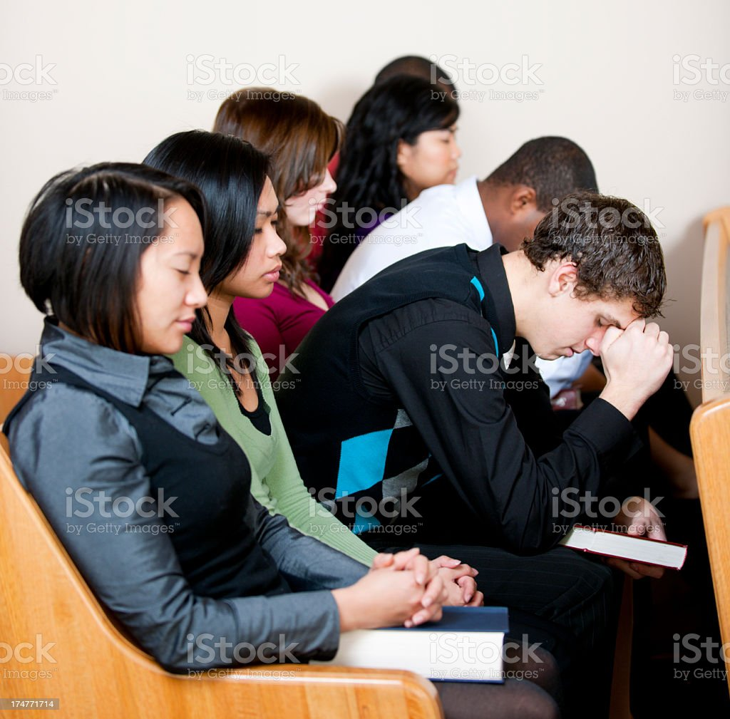 Young adults in church. stock photo