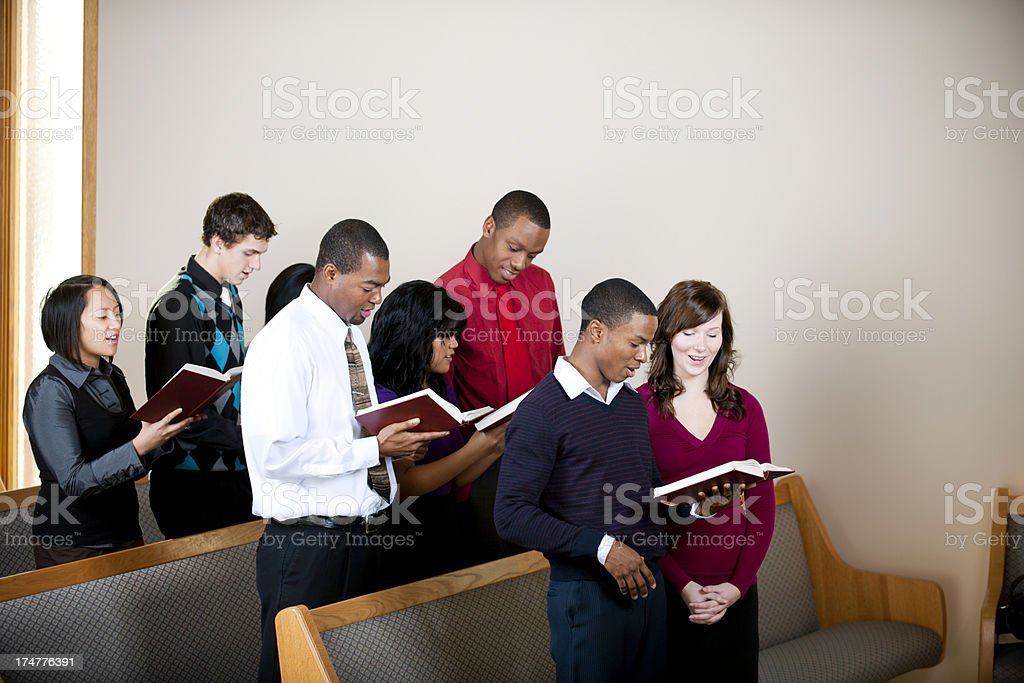 Young adults in church stock photo
