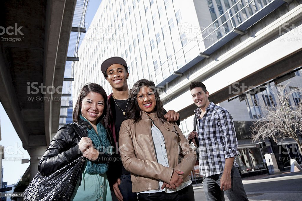 Young adults in the city stock photo